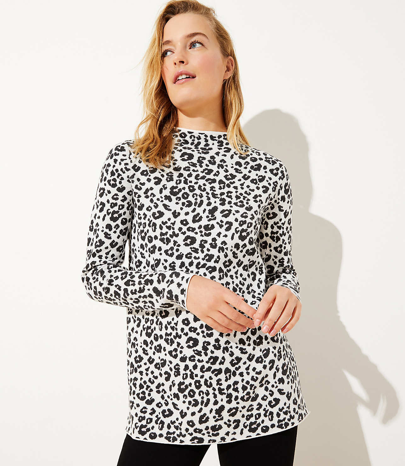 in stock wide selection diversified latest designs Leopard Print Mock Neck Tunic Sweater | LOFT