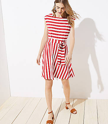 97f9d4ed95dad Striped Tie Waist Flare Dress