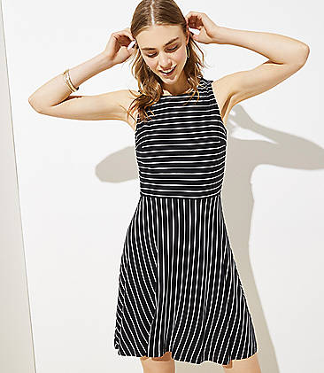 6649b20f9dd5 Striped Twist Back Flare Dress