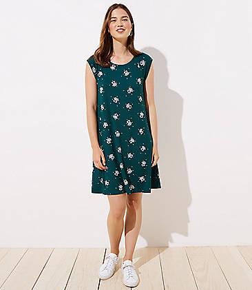 24ecc4aca9ea0c Petite Garden Cap Sleeve Swing Dress