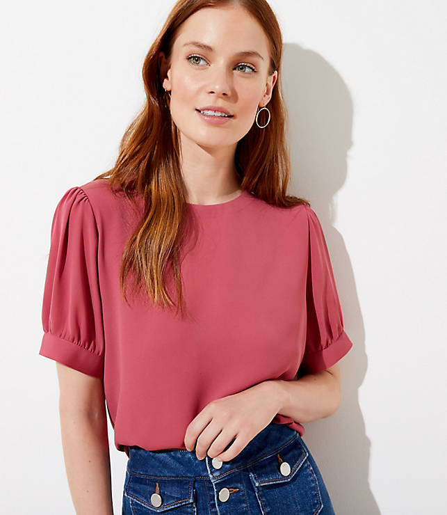 Petite Puff Sleeve Button Back Top by Loft