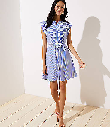 47ceaa593a5f Striped Flutter Shirtdress