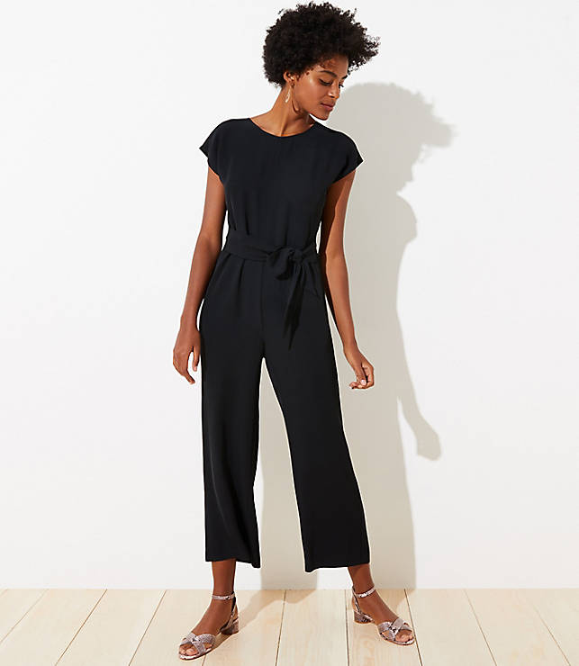 Petite V Back Tie Waist Jumpsuit by Loft