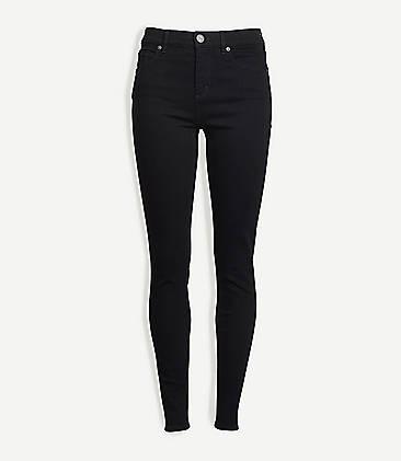 Black Denim Jeans For Women Ripped High Waisted Skinny Loft