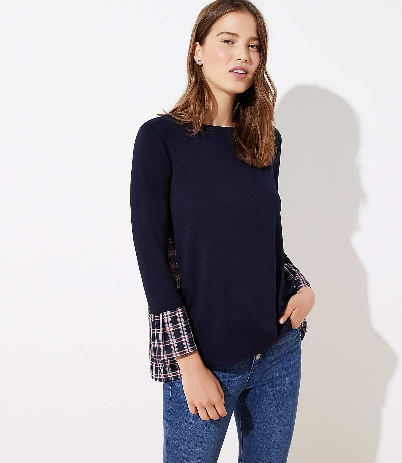 Plaid Mixed Media Bell Cuff Sweatshirt
