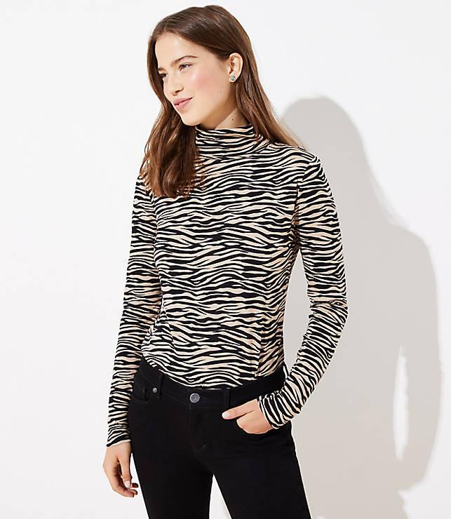 Tiger Stripe Textured Turtleneck Top