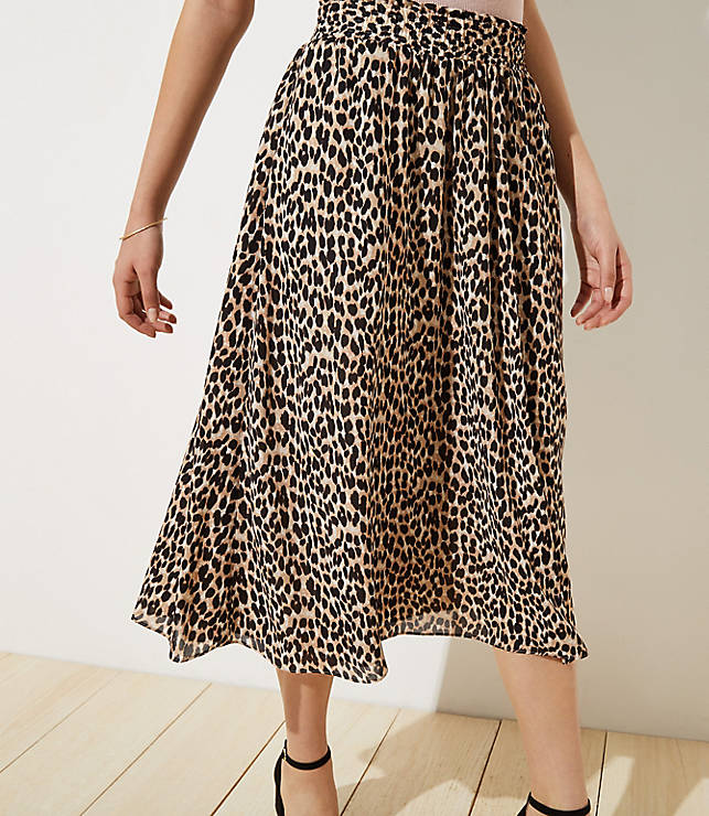07e8956bd Leopard Print Smocked Pull On Maxi Skirt | LOFT