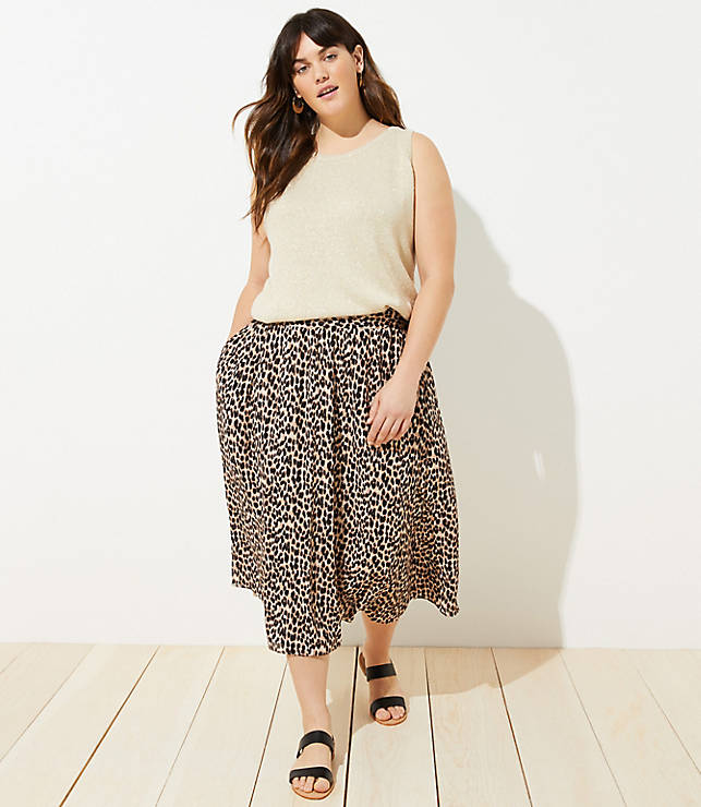0c02a8e2e37 LOFT Plus Leopard Print Smocked Pull On Maxi Skirt | LOFT