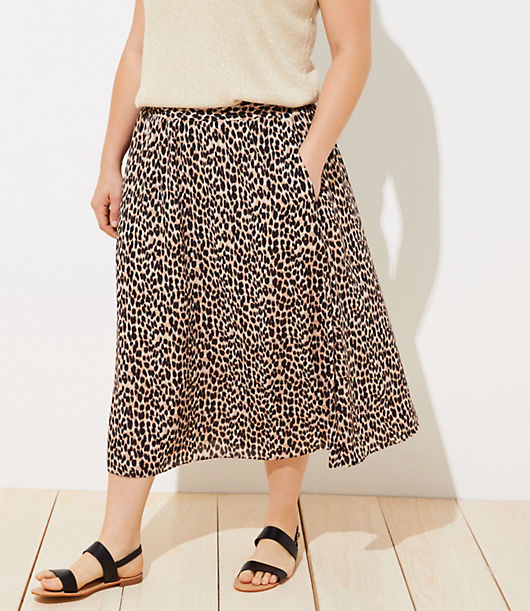 be593aeb63 Image 2 of 3 - LOFT Plus Leopard Print Smocked Pull On Maxi Skirt