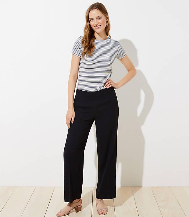 Petite Wide Leg Pull On Pants by Loft