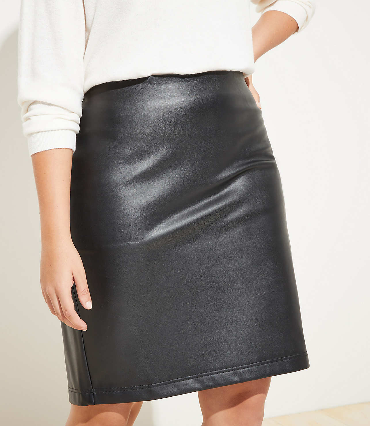 shop for luxury up-to-datestyling Good Prices LOFT Plus Faux Leather Pull On Pencil Skirt   LOFT