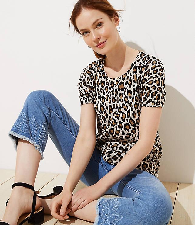 Cheetah Print Short Sleeve Sweater
