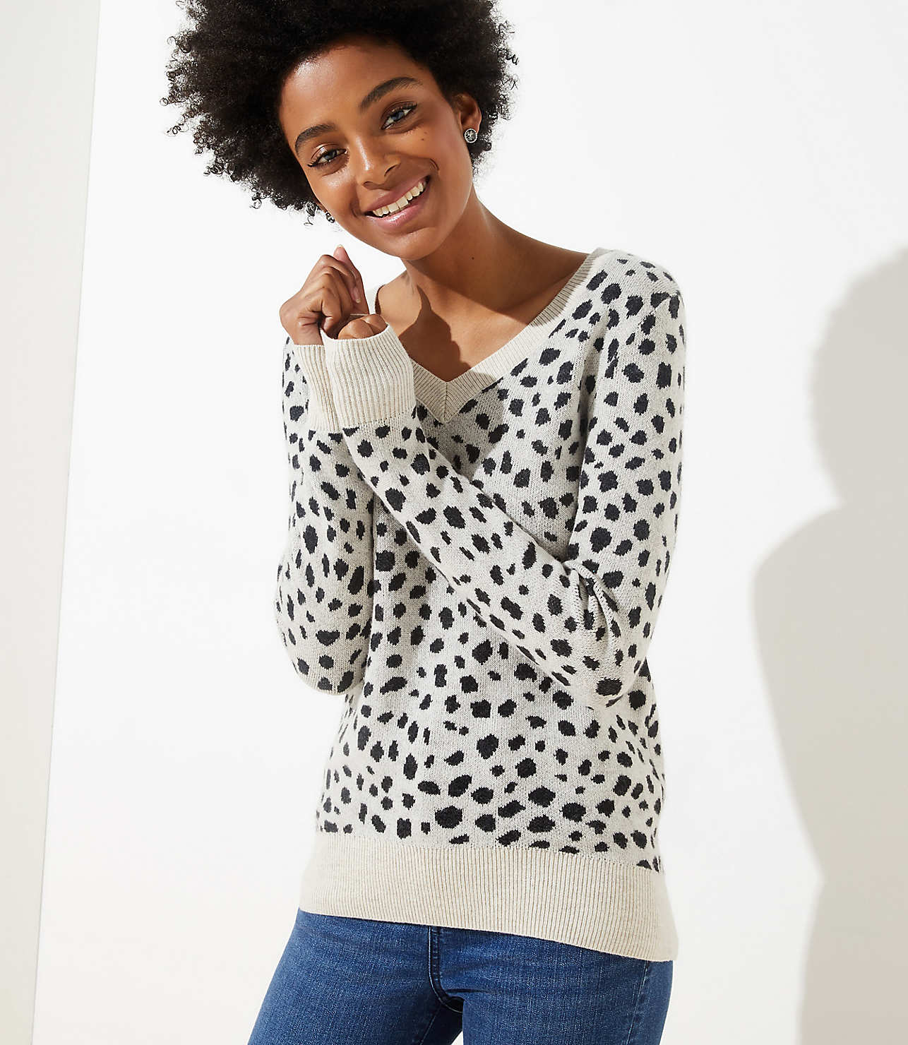 newest style cheapest sale great variety styles Leopard Print V-Neck Sweater | LOFT