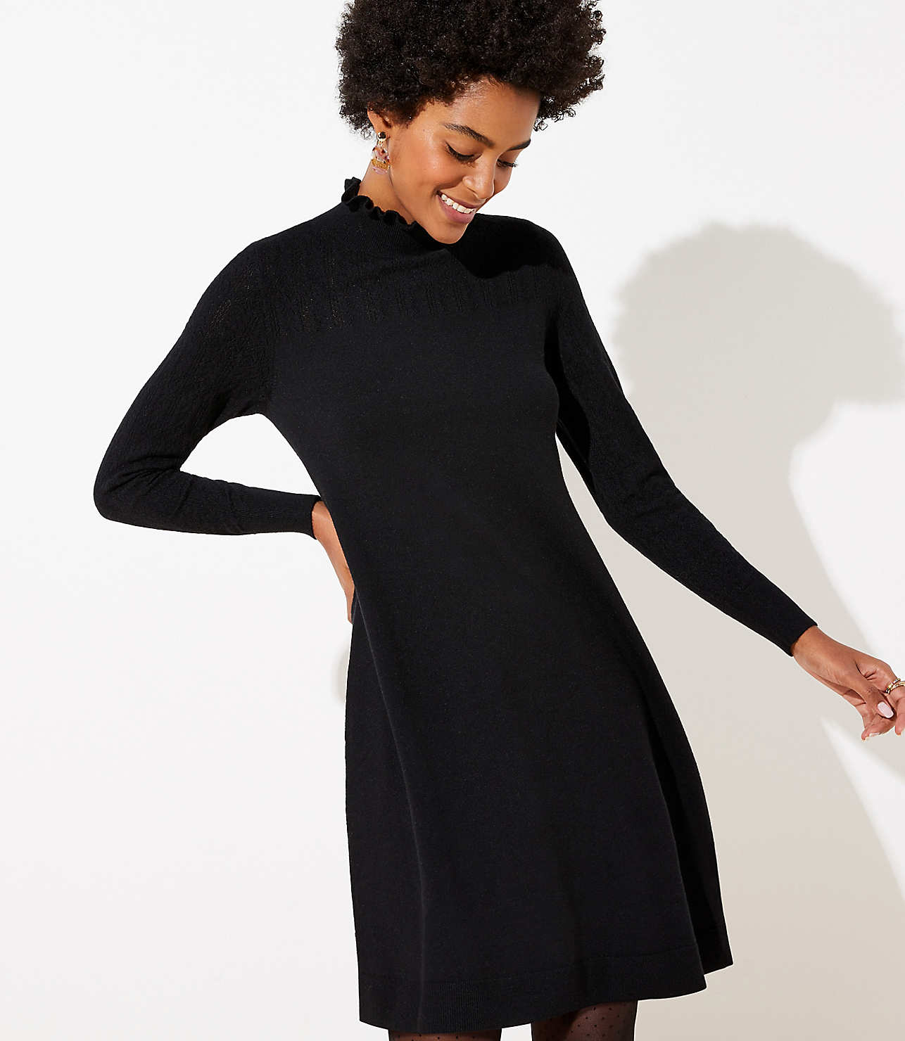 Ruffle Pointelle Sweater Dress