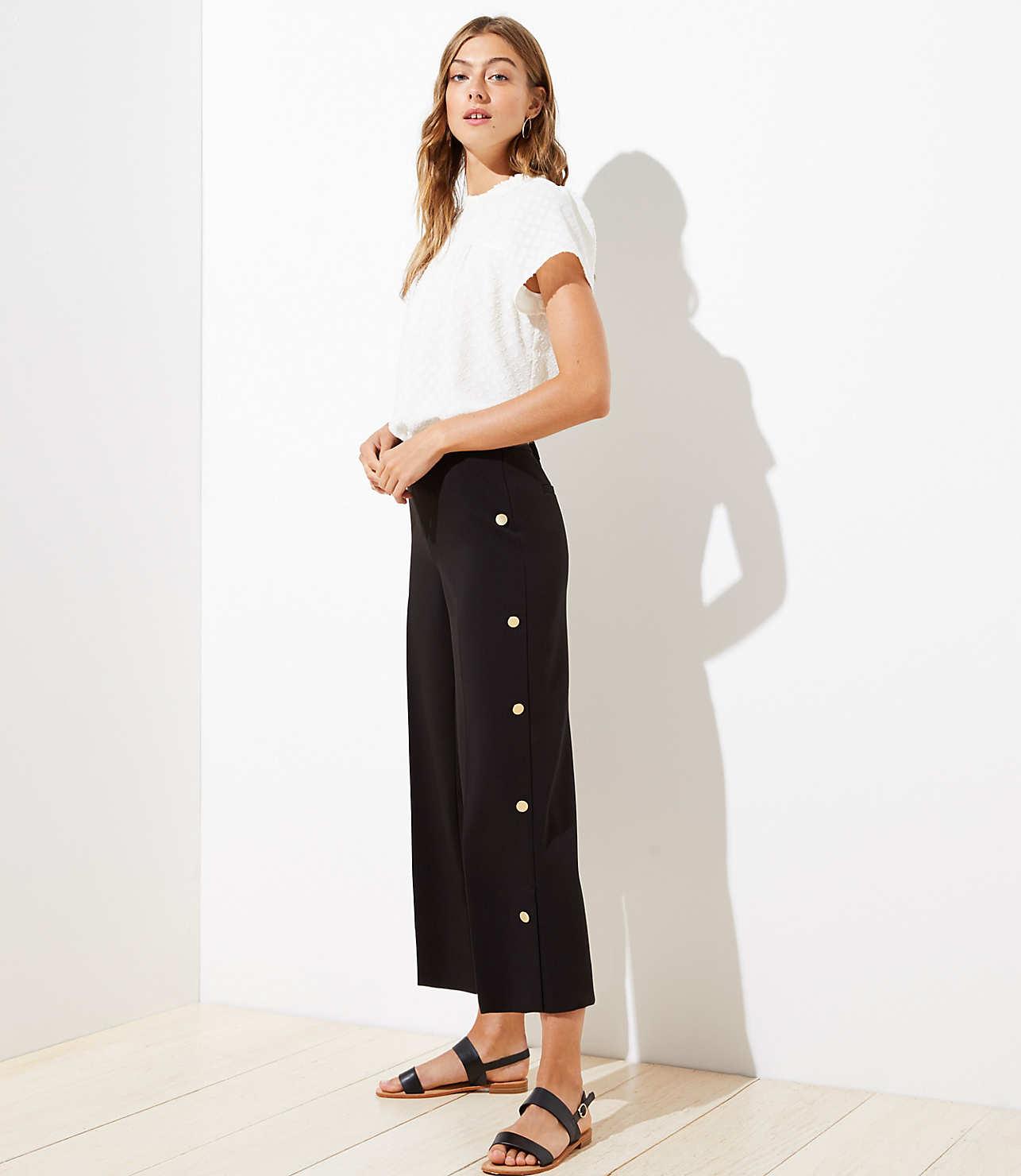 Wide Leg Crop Pants in Side Button