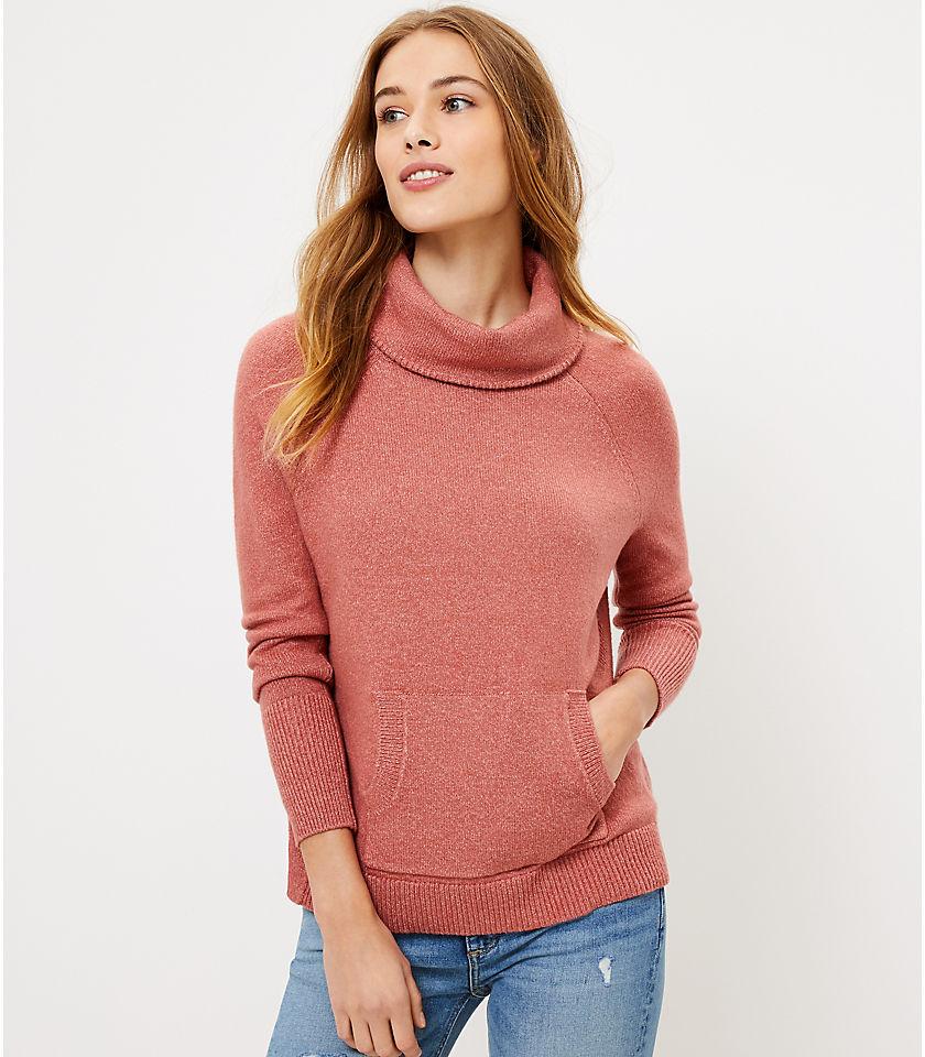 로프트 LOFT Cowl Neck Pocket Sweater
