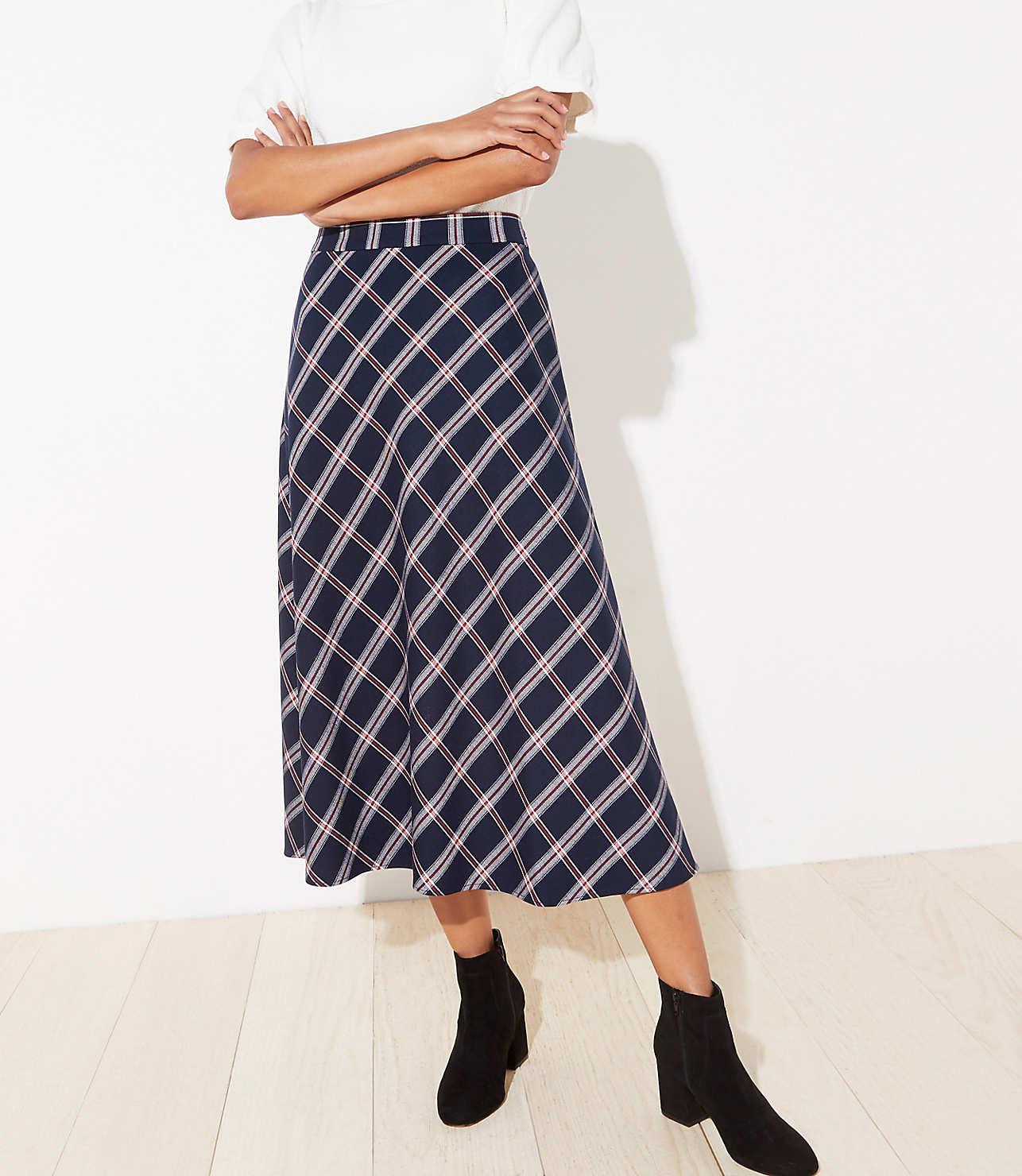 hot-selling latest new list enjoy discount price Petite Plaid Midi Skirt | LOFT