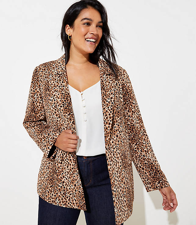 Loft Plus Leopard Print Open Blazer by Loft