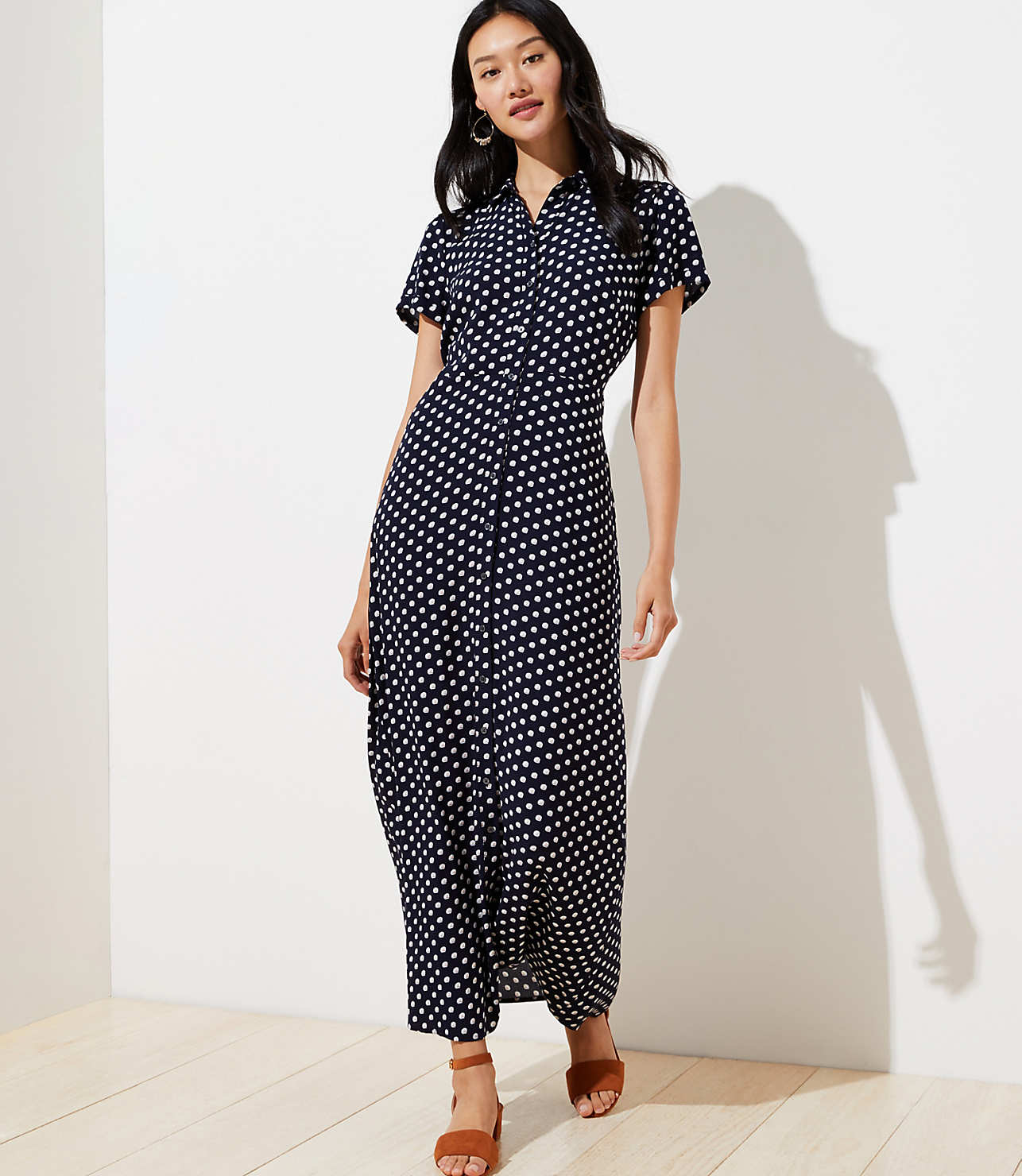 outlet sale where to buy online for sale Petite Floral Maxi Shirtdress | LOFT