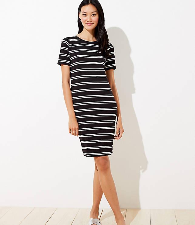Petite Striped Tee Dress by Loft