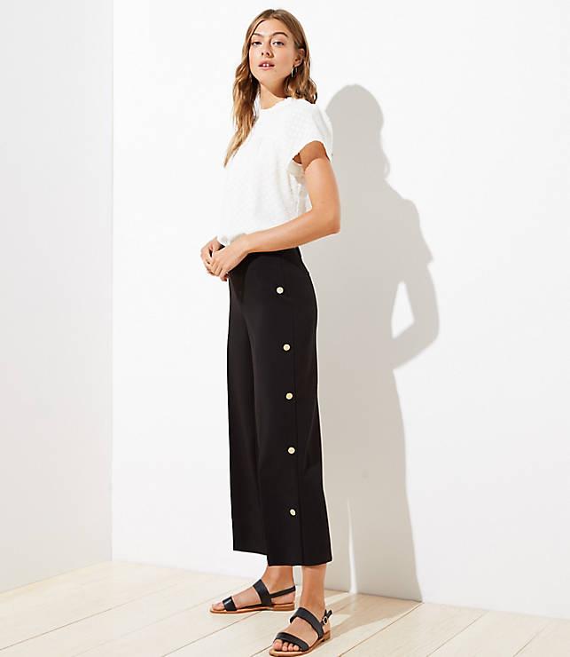 Petite Wide Leg Crop Pants In Side Button by Loft