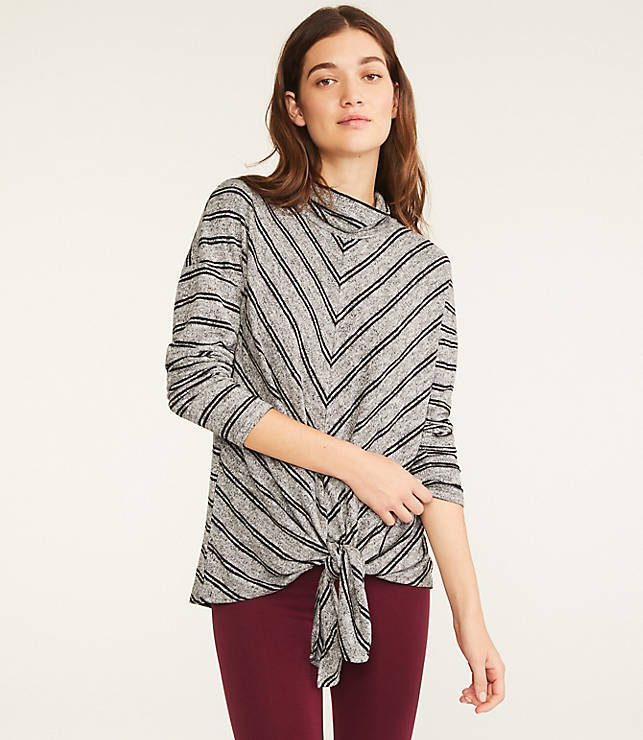 Lou & Grey Striped Brushmarl Tie Front Top