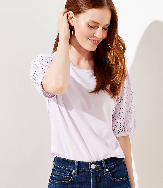 Lace Puff Sleeve Tee by Loft