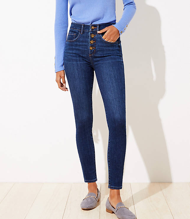 Curvy High Waist Slim Pocket Skinny Jeans In Staple Dark Indigo Wash by Loft