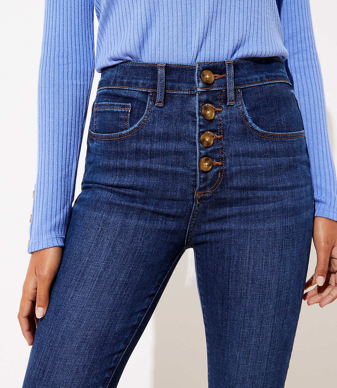 info for 9247f 427a3 Curvy High Rise Slim Pocket Skinny Jeans in Staple Dark Indigo Wash | LOFT