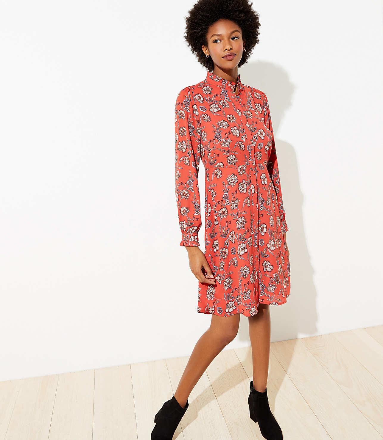 Floral Ruffle Trim Shirtdress