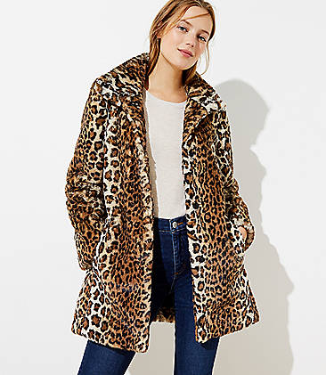 Leopard Print Faux Fur Funnel Neck Coat