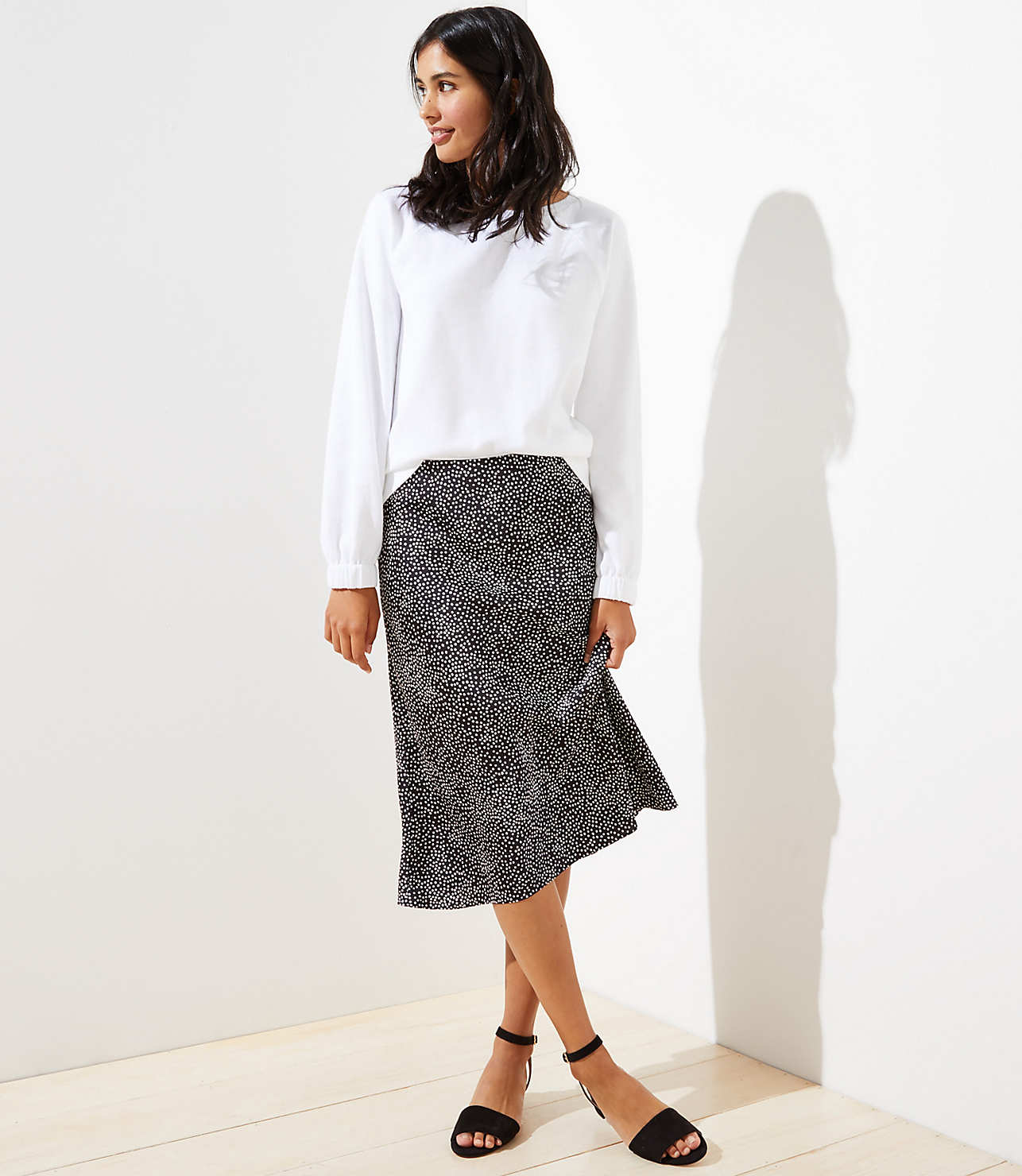 exceptional range of styles and colors finest fabrics special section Petite Dotted Pull On Midi Skirt | LOFT