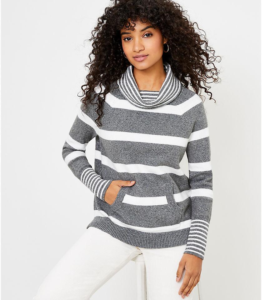 로프트 LOFT Striped Cowl Neck Pocket Sweater