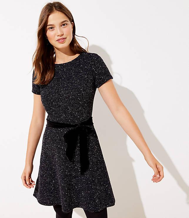 Textured Velvet Belted Dress
