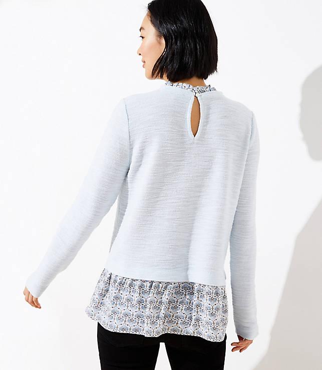 Mosaic Boucle Mixed Media Sweatshirt