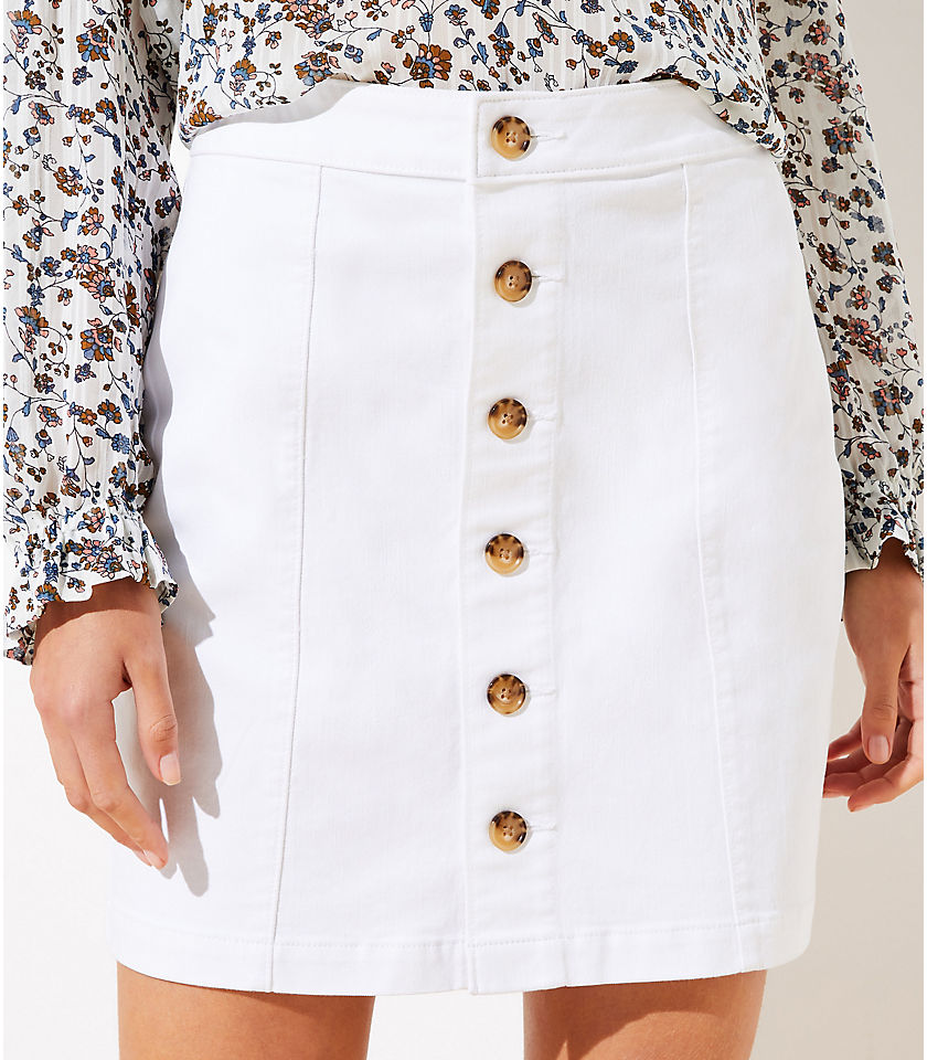 로프트 LOFT Denim Button Down Skirt,White