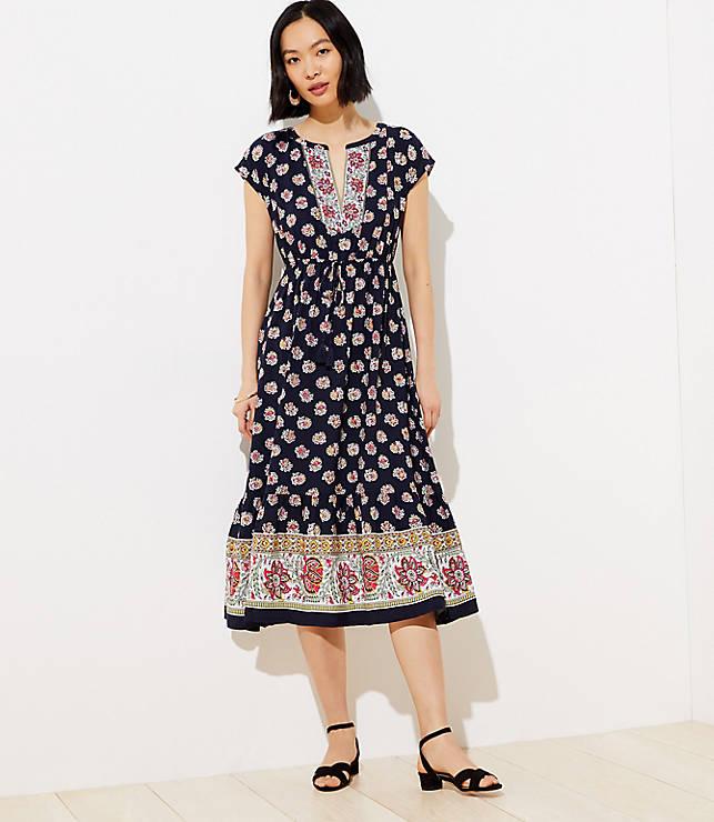 Border Floral Tasseled Drawstring Midi Dress