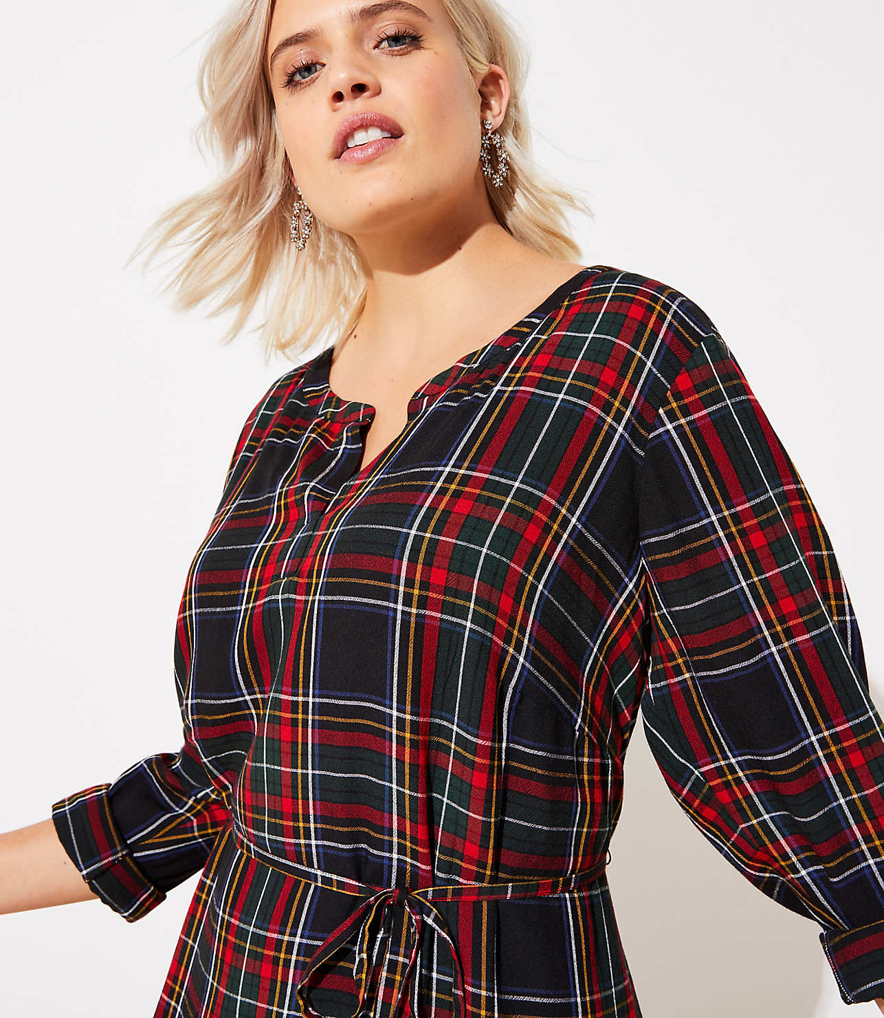 LOFT Plus Plaid Tiered Swing Dress | LOFT