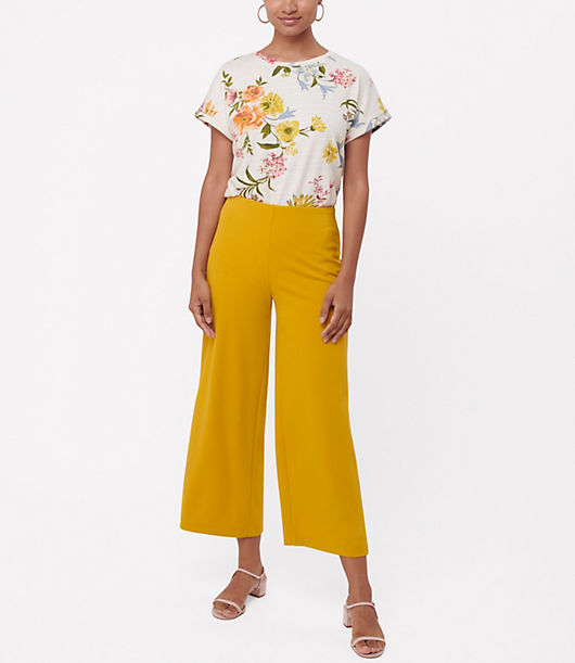 Of the moment and timelessly flattering. Elasticized waist. Back welt pockets. Loft Pull On Wide Leg Pants