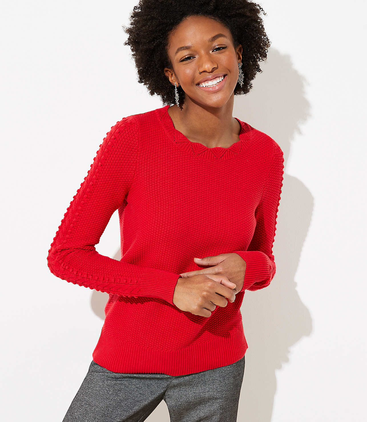 Scalloped Cable Sleeve Sweater
