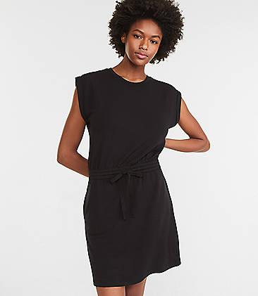 로프트 드로스트링 티셔츠 원피스 LOFT Lou & Grey Signature Softblend Drawstring Pocket Tee Dress,Black