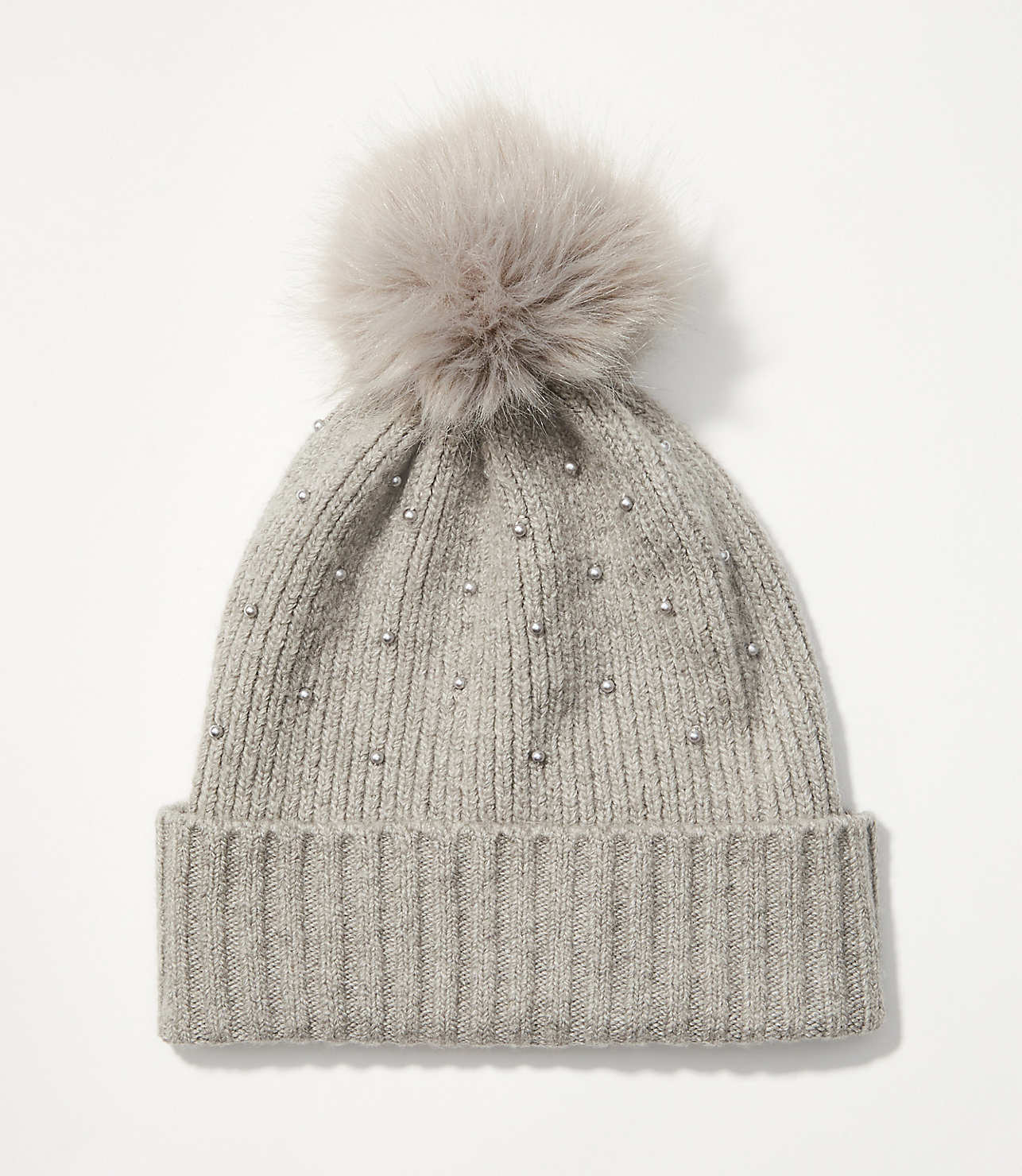 Pearlized Faux Fur Pom Pom Hat