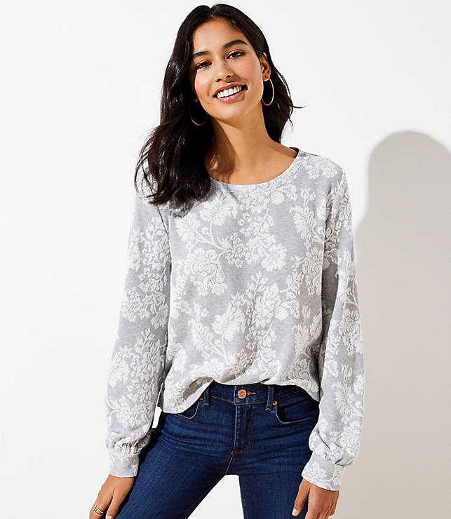 Floral Jacquard Banded Sweatshirt