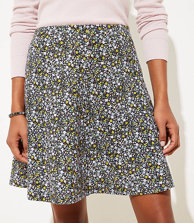 Floral Ponte Flippy Skirt