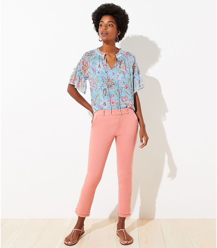 Frayed Girlfriend Chinos color Chalk Rose