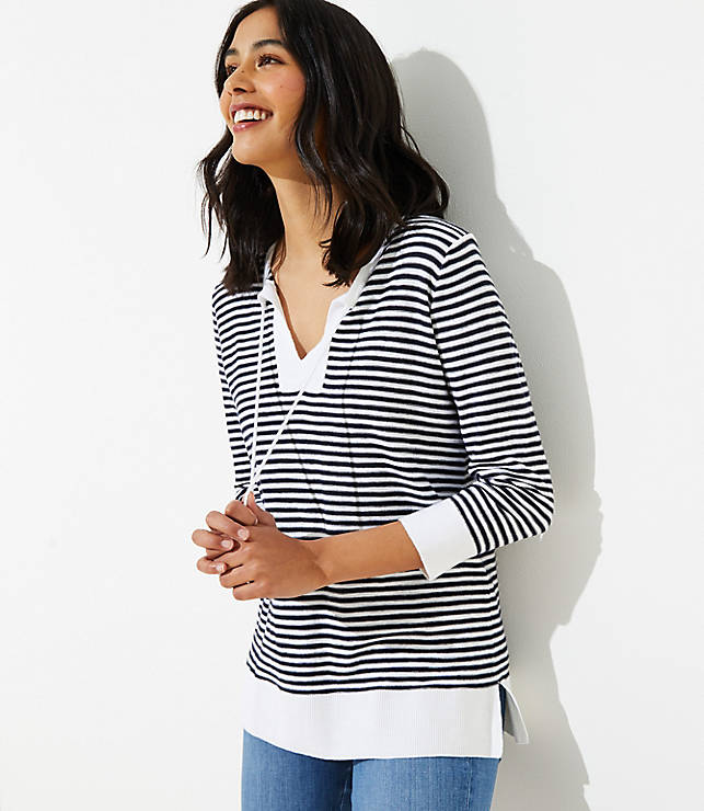 Stripe Tasseled Tie Neck Tunic Sweater