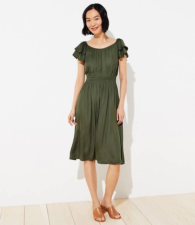 Smocked Flutter Midi Dress