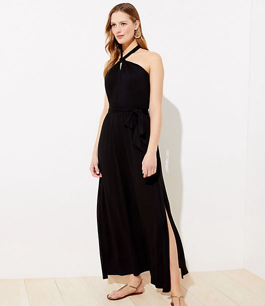 Effortlessly flattering and glam, this halter maxi dress is an instant upgrade for every vacation portfolio. Tie halter neck. Elasticized waist with ties. Side slits. Items in our Swim Collection can only be exchanged or returned by mail. Loft LOFT Beach Halter Maxi Dress
