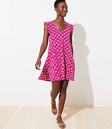 Loft Swing Dress NEW Mosaic Print Sleeveless Rayon Blend NWT MSRP $69 SZ XS
