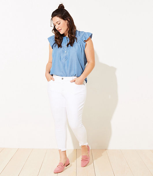 Introducing denim with extra slimming and stretchy pockets - that magically hold you in for an irresistibly flattering finish! Styled with a extra comfortable and contoured higher waistband for an instant smoothing effect and expertly designed with premium mills to smooth, lift, fit and flatter in all the right places, our denim is so soft and stretchy you\\\'ll never want to take it off. Front zip with button closure. Belt loops. Five-pocket styling. Loft LOFT Plus Chewed Hem Slim Pocket Skinny Crop Jeans in White